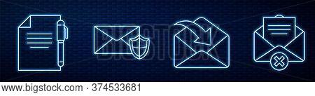 Set Line Envelope, Document And Pen, Envelope With Shield, Delete Envelope And Mobile And Envelope.