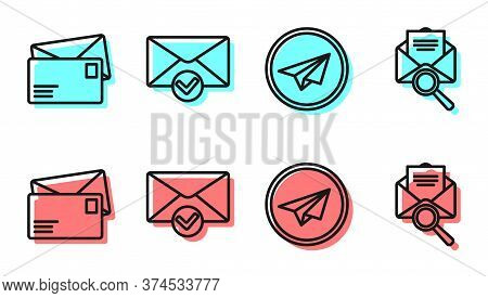 Set Line Paper Plane, Envelope, Envelope And Check Mark And Envelope With Magnifying Glass Icon. Vec