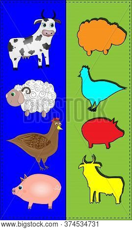 Choose Shade For Animals. Game For Children With Animals Cow, Sheep, Chicken, Pig