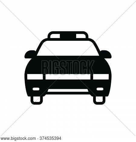 Black Solid Icon For Police-car Vehicle Car Cop Patrolling Transportation Light Surveillance Detecti