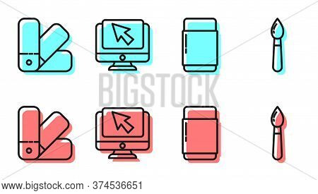 Set Line Eraser Or Rubber, Color Palette Guide, Computer Monitor And Cursor And Paint Brush Icon. Ve