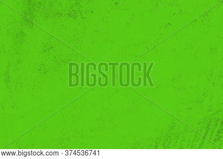 Vivid Green Color Background. Concrete Or Beton Pattern