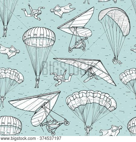 Extreme Sports Sketch Seamless Vector Pattern On Blue Background. People Performing Parachuting, Han