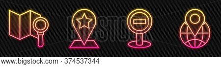 Set Line Stop Sign, Search Location, Map Pointer With Star And Location On The Globe. Glowing Neon I