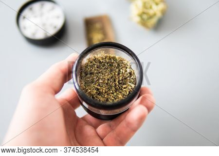 Marijuana Nature Bud Thc Cbd . The Pot Leaves On Buds. White Background. Cannabis Weed Bud And Grind