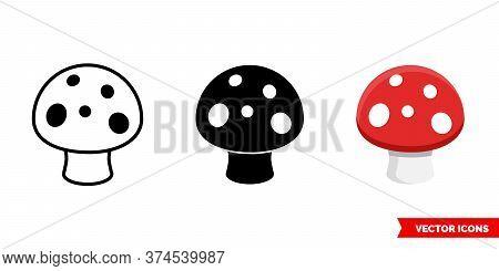 Amanita Mushroom Icon Of 3 Types. Isolated Vector Sign Symbol.