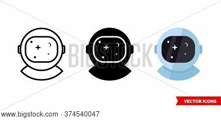 Astronaut Or Cosmonaut Icon Of 3 Types. Isolated Vector Sign Symbol.