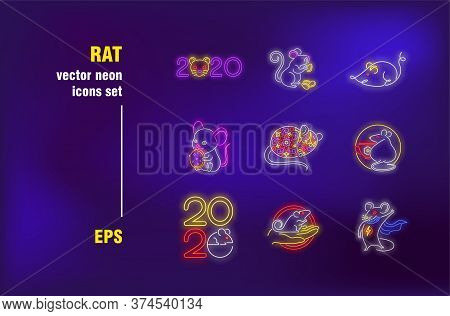 Rat Collection In Neon Style. Year, Mouse And Rodent. Vector Illustrations For Luminous Banners. Ani