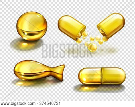 Gold Oil Capsules, Vitamine, Bio Supplements, Fish, Round And Oval Shape Pills. Cosmetics, Omega 3 G
