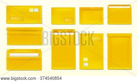 Yellow Envelopes With Stamps. Blank Closed And Open Paper Covers, Vertical And Horizontal Letter Pac