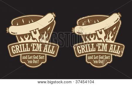 Barbecue Hot Dog Vector Emblem