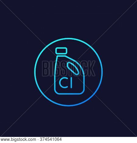 Chlorine Vector Linear Icon On Dark, Eps 10 File, Easy To Edit