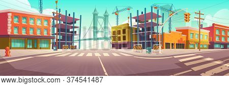 City Street With Construction Site, Building Work And Tower Crane. Vector Cartoon Cityscape, Urban L