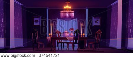 Dining Room Interior In Classic Victorian Style With Burning Candles At Night. Vector Cartoon Illust