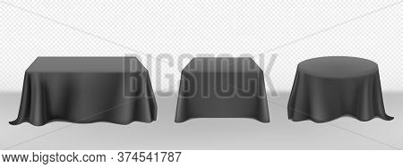 Black Tablecloth On Round Square Tables. Vector Realistic Mockup Of Empty Dining Desk With Blank Lin