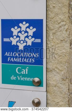 Poitiers , Aquitaine / France - 06 20 2020 : Caisse Allocations Familiales Logo Sign Of Caf Agency F