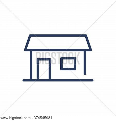 Family Cottage Thin Line Icon. Country House, Building, Hut Isolated Outline Sign. Architecture, Rea