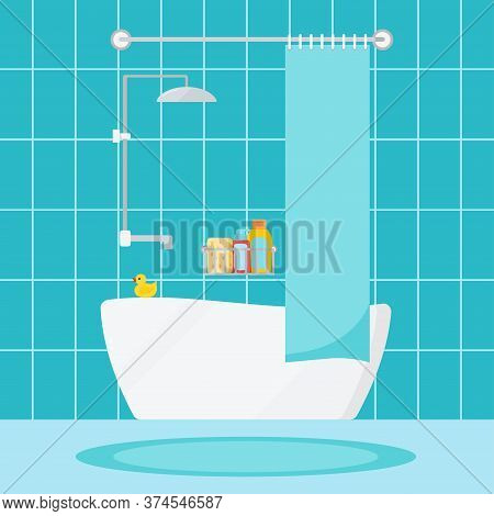 Modern Cozy Bathroom Home Interior Scene. House Or Hotel Room With Bathroom Furniture, Child Duck, S