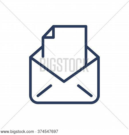 Document In Open Envelope Thin Line Icon. Correspondence, Letter, Postcard Isolated Outline Sign. In