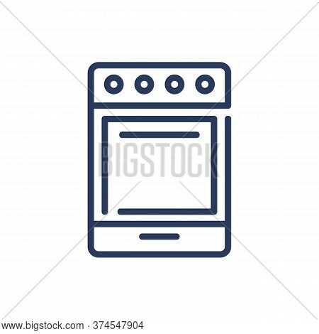 Stove Thin Line Icon. Oven, Cooker, Kitchenware Isolated Outline Sign. Home Appliance, Domestic Equi