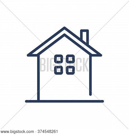 Cottage With Chimney Thin Line Icon. House Building With Small Window, Hut Isolated Outline Sign. Ar