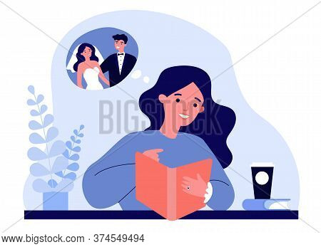Happy Young Woman Planning Her Wedding. Bride Wearing Engagement Ring, Watching Catalogue Flat Vecto