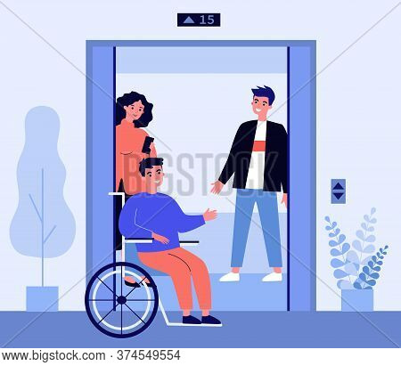 Disabled Man Getting Into Elevator Cabin. Wheelchair, Friends, Lift Flat Vector Illustration. Divers