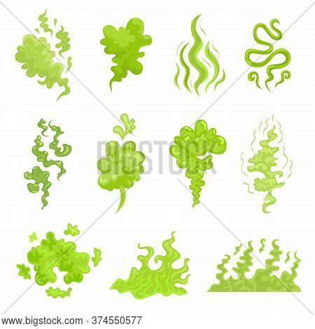 Various Bad Smell Odor Clouds Flat Icon Set. Cartoon Green Toxic Steam, Stinky Dirt Breath, Odor Smo