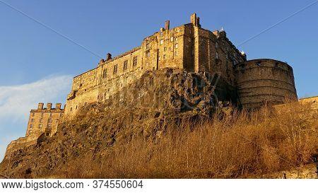 The Castle Of Edinburgh - Edinburgh City Scapes - Edinburgh, United Kingdom - January 10, 2020