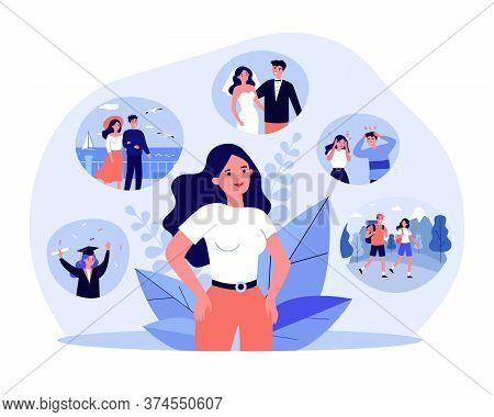 Positive Life Memories. Woman Recalling Happy Scenes Of Her Life, Graduation, Wedding Day, Vacation