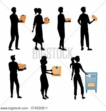 People Wait In Queue To Send Packages And Letters. Set Of Characters Silhouettes Pick Up, Send Parce