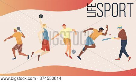 Active Kinds Of Sports Concept. Group Of People Performing Sports Activities Outdoors. Men And Women
