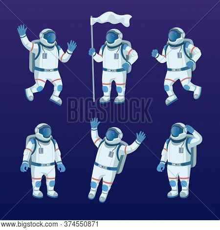 Astronaut Character In Space Flat Icon Set. Cartoon Spaceman Or Cosmonaut Exploring Galaxy, Holding