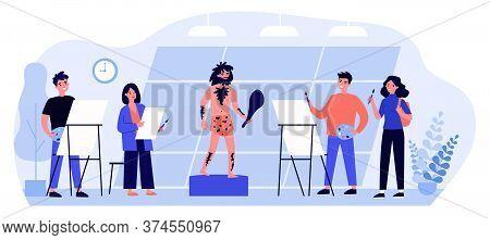 Art School Students Drawing Model. Artist, Primitive Man, Painting Class Flat Vector Illustration. P