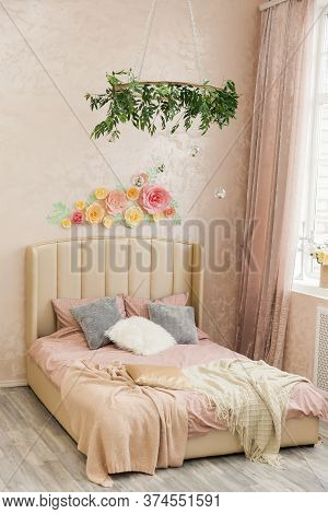 Bedroom With Bed, In Loft Style With Houseplants