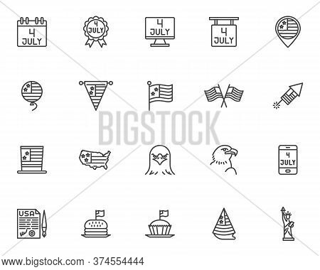 Independence Day Line Icons Set. Linear Style Symbols Collection, Outline Signs Pack. Vector Graphic