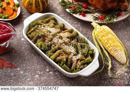 Baking Green Beans Casserole With Cheese And Bread Crumbs. Thanksgiving Day Food