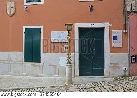 Rovinj, Croatia - October 15, 2014: Council Of Europe Depositary Library And Historical Research Cen
