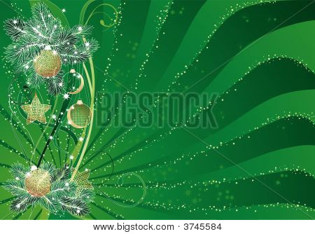 Green Christmas Abstract Background