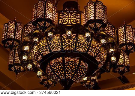 Morocco Ornate Metal Lamp In The Wall Of A Mosque, Qatar.morocco Style Lamp Or Lantern.