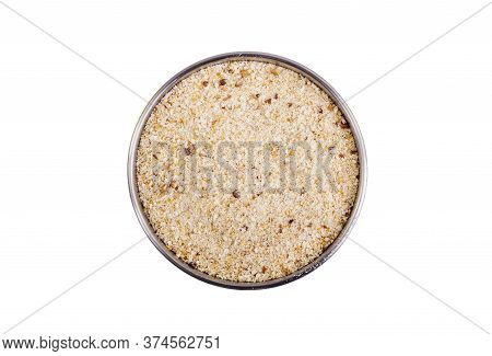 Top View Of Bowl Full Of Bread Crumbs Isolated On White