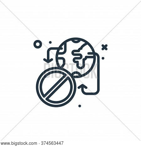 no traveling icon isolated on white background from virus restrictions collection. no traveling icon