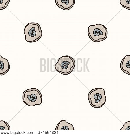 Seamless Background Ammonite Fossil Gender Neutral Baby Pattern. Simple Whimsical Minimal Earthy 2 T
