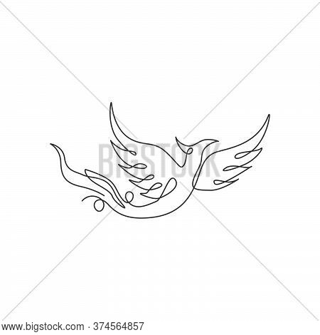 Single Continuous Line Drawing Of Flame Phoenix Bird For Corporate Logo Identity. Company Icon Conce