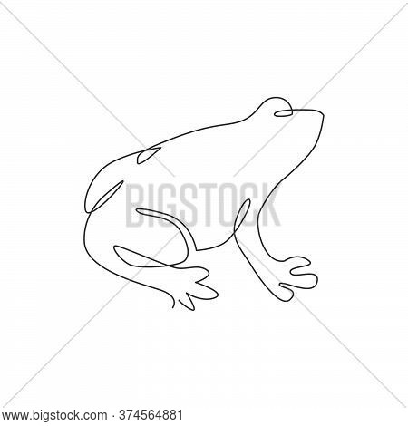 One Single Line Drawing Of Cute Frog For Company Logo Identity. Amphibian Animal Icon Concept. Moder