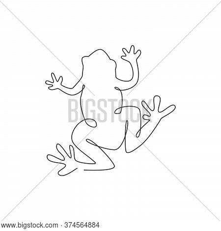 One Single Line Drawing Of Cute Frog For Company Logo Identity. Amphibian Animal Icon Concept. Trend
