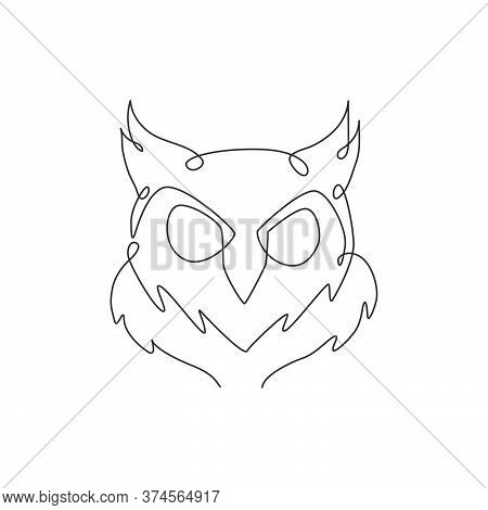 One Single Line Drawing Of Elegant Owl Bird Head For Company Logo Identity. Symbol Of Education, Wis