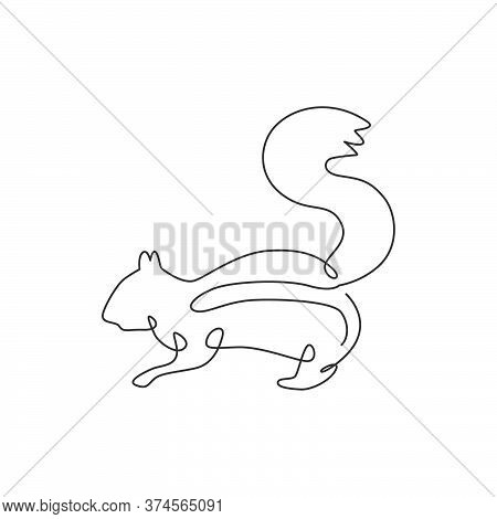 One Single Line Drawing Of Cute Squirrel For Company Logo Identity. Business Corporation Icon Concep