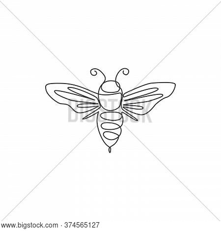 Single Continuous Line Drawing Of Decorative Bee For Farm Logo Identity. Honeycomb Producer Icon Con