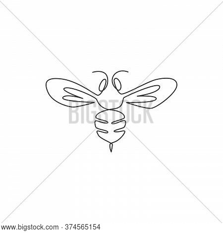 One Continuous Line Drawing Of Elegant Bee For Company Logo Identity. Organic Honey Farm Icon Concep